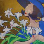 "Lady Lilly, image size: 13""x 18"", with gold leaf, available from Rita Orr studio & art gallery"