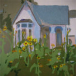 """The Cottage In The Garden, image: 36""""x36"""", by Rita Orr at the Blue Dolphin Gallery, Ephraim, WI"""
