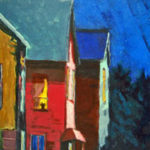 """Old Neighborhood, acrylic painting, image size: 20""""x16"""" by Rita Orr at the Blue Dolphin Gallery, Ephraim, WI"""